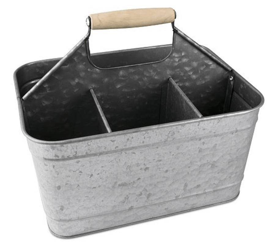metal cocktail caddy for keeping your bar tools and equipment organized
