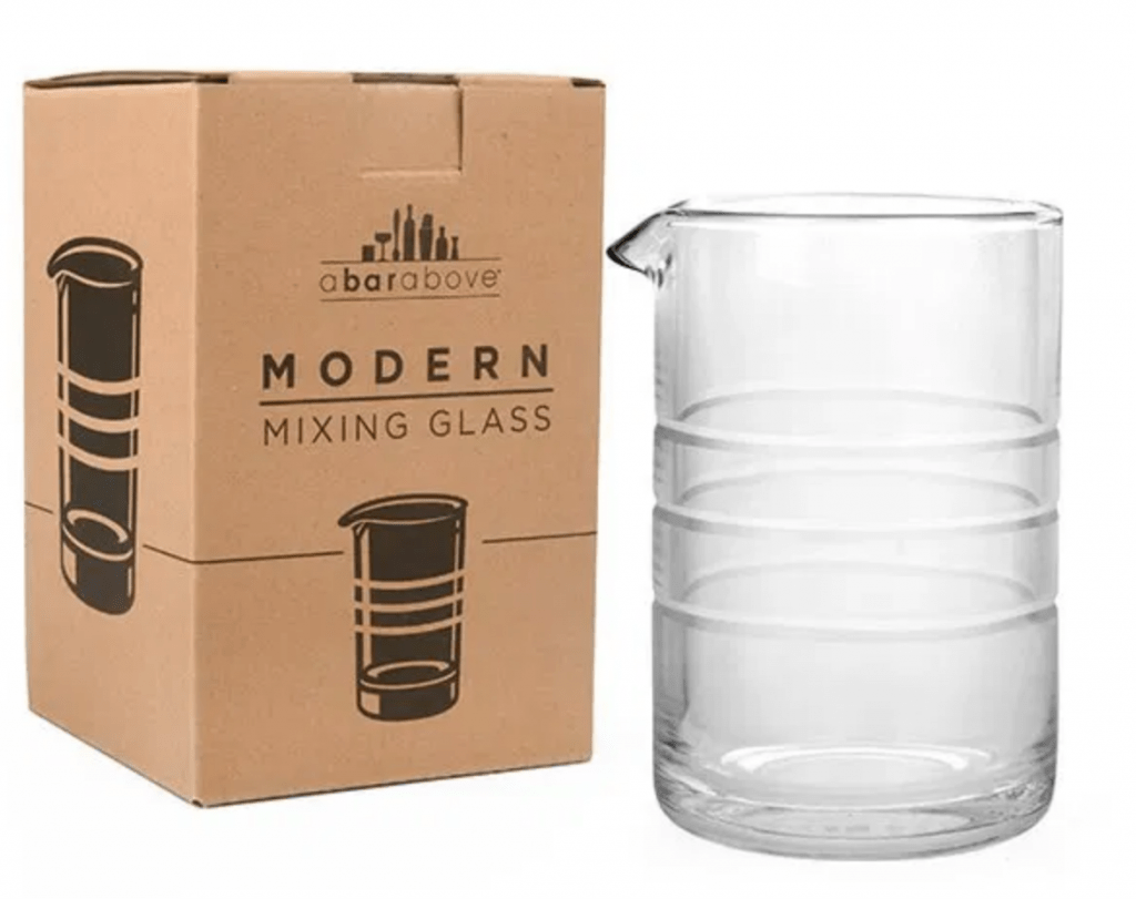 modern mixing glass from a bar above