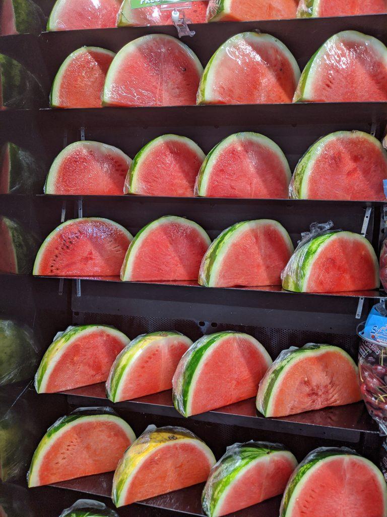 watermelon quarters displayed watermelon cocktails