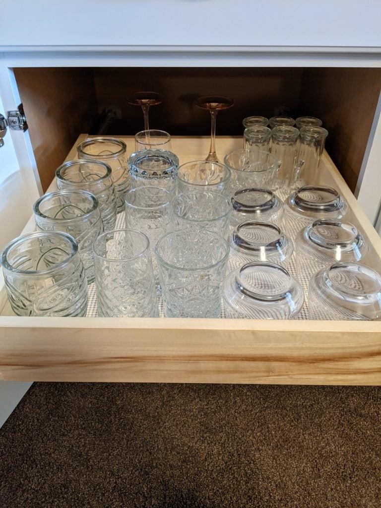 home bar glassware drawer