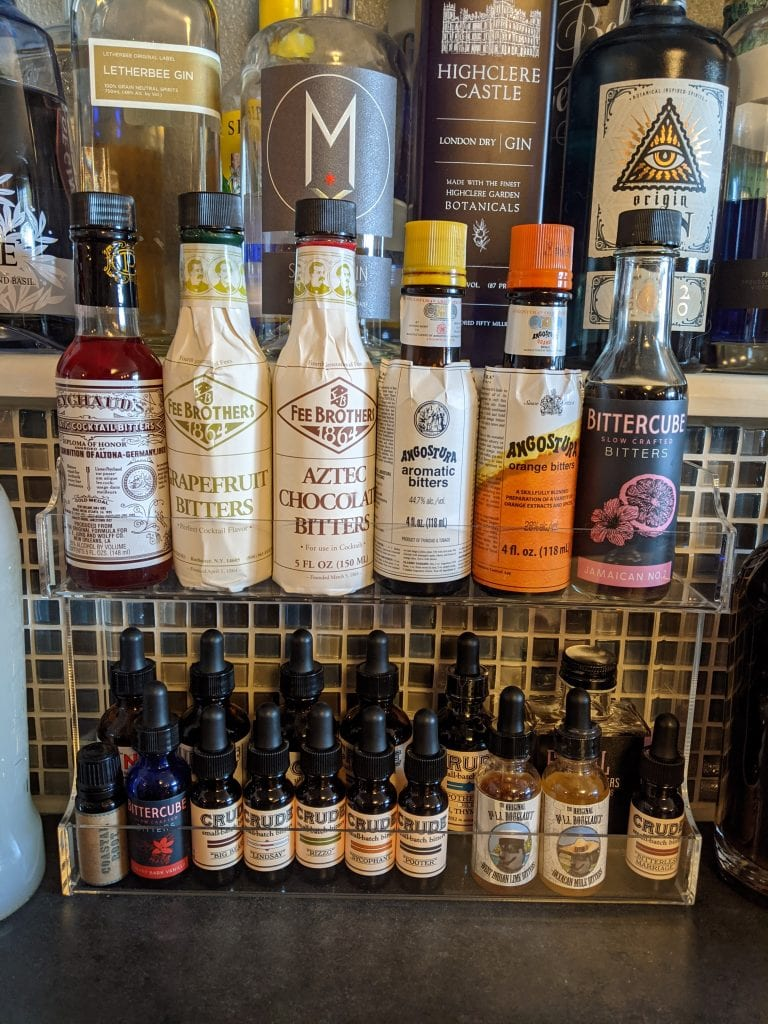 home bar organized bitters