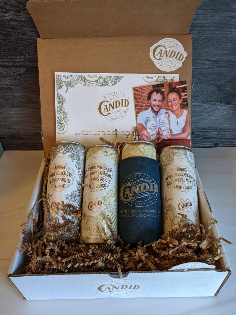 canned candid cocktails in a gift box
