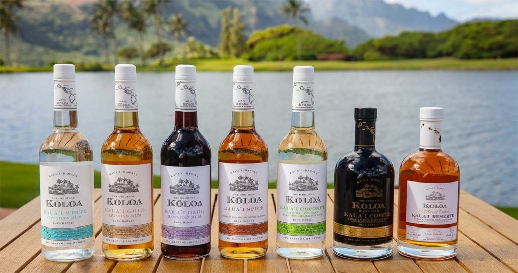 product line of koloa rum bottles