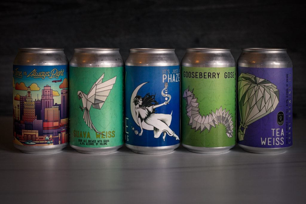 cans of crane brewing beers