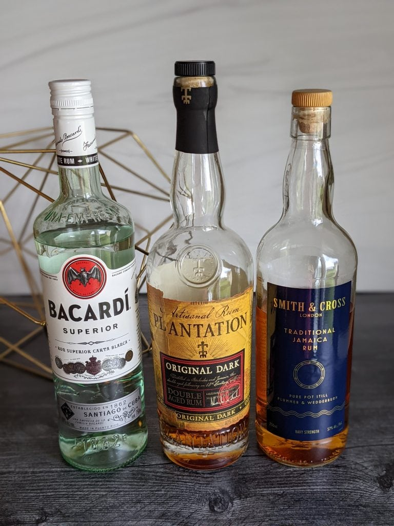 three types of rum for a mojito bar