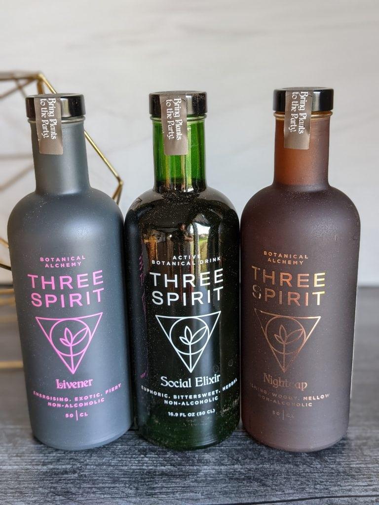 three spirit drinks line up of three flavors