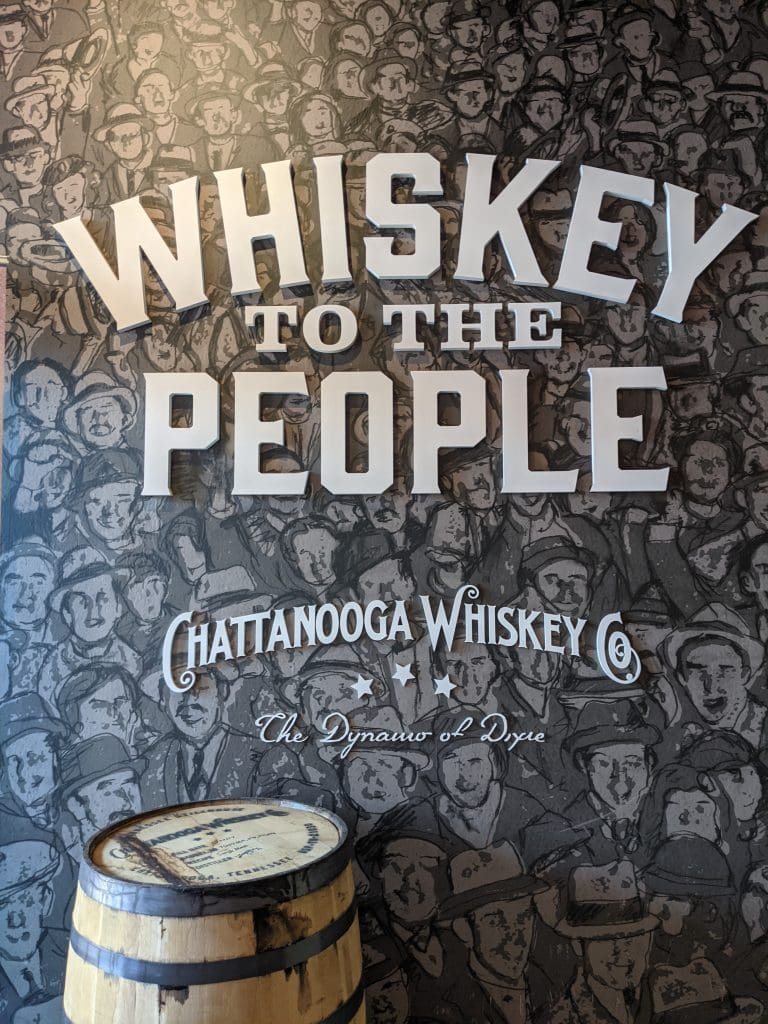 chattanooga whiskey slogan on the wall of the bar