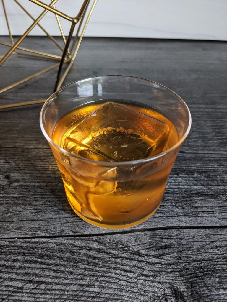 apple juice and rum old fashioned